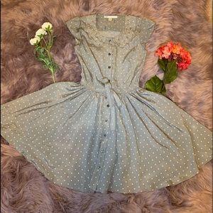 Lauren Conrad Grey Pink polka dot dress
